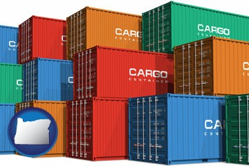 colorful freight cargo containers - with Oregon icon