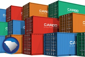 colorful freight cargo containers - with South Carolina icon