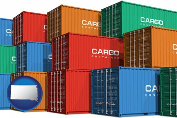 colorful freight cargo containers - with South Dakota icon