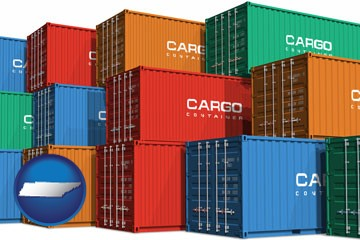 colorful freight cargo containers - with Tennessee icon