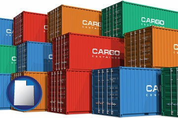 colorful freight cargo containers - with Utah icon