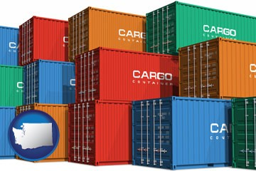 colorful freight cargo containers - with Washington icon