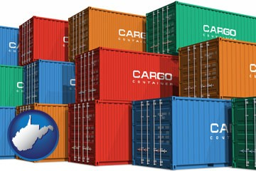 colorful freight cargo containers - with West Virginia icon