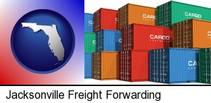 Jacksonville, Florida - colorful freight cargo containers