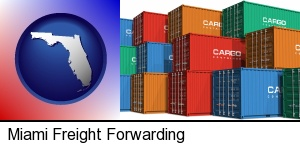 Miami, Florida - colorful freight cargo containers