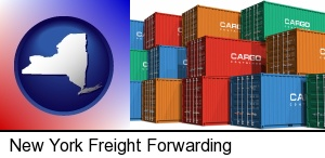 New York, New York - colorful freight cargo containers